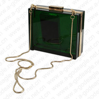 Acryl brief green transparent gold metal lotus clutch party fashion evening bag 10015 free shipping