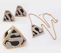 (Min order $10,Mix Order ) New Enamel Crystal Gold Geometry Superman Necklace Earring Ring set