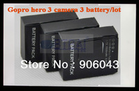 GOPRO Hero3 Camera battery Helmet Surf Naked Motersports battery pack,3pcs/lot battery for gopro here3 video camera