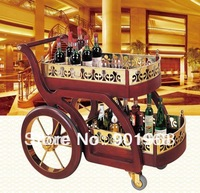 Hotel classic style wooden liquor trolley-hotel trolley-classic service trolley
