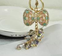 Car key yiwu gift birthday crystal butterfly keychain key