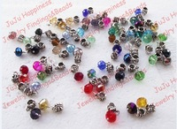 Free Shipping!50Pcs/Lot 10MM Mixed Colors Dangle Crystal Glass Rondelle EP Charm Beads 929