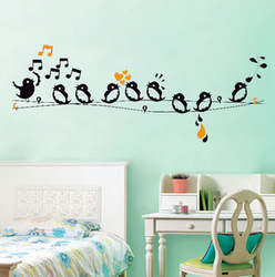 Singing Birds Vinyl wall Decals Home Decor Bed room Wall Stickers Removable(China (Mainland))