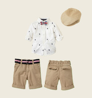 children's clothing spring 2013 brand suit boys sport set suit long sleeve blouse+short+cap three pcs suit