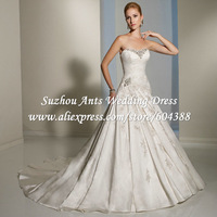 Elegant A-Line Wedding Dress Sweetheart White Stain  Hi Low Beaded IL1195
