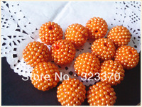 Orange color AAA quality 100pcs a lot 20mm resin rhinestone ball beads,Bling chunky ball beads for Jewely accessory