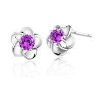 west Hot 2013 Wholesale 925 Sterling silver stud Earrings Fashion 925 Sterling silver jewelry  ET009