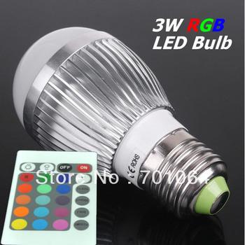 RGB 3W E27 AC85~265V 16Color LED Bulb Light Spot Light LED Light Lamp with 3years Warranty