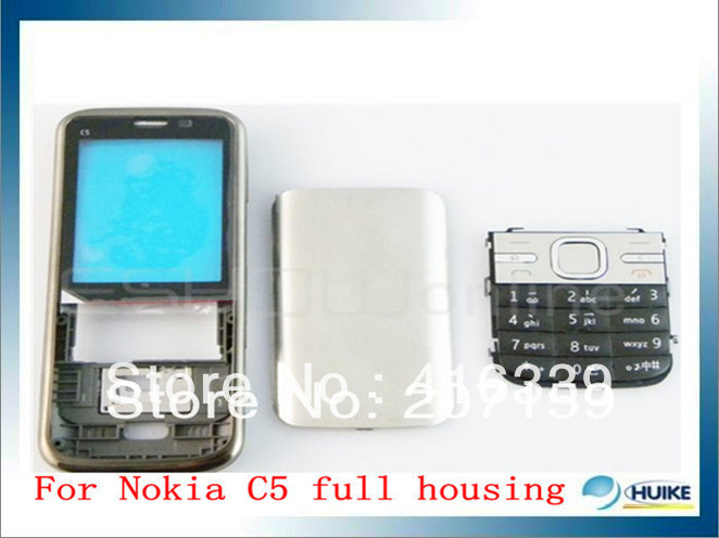 MOBILE PHONE WHITE COVER HOUSING CASE +KEYPAD TOOL FOR NOKIA C5(China (Mainland))
