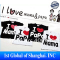 2013 Summer  Baby Short-Sleeve Shirt baby Tee shirt boy & Girl T-shirt love papa mama printed stretch shirt 20pcs/lot