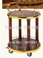 Hot sell Golden wooden-Hotel wooden liquor trolley- hotel liquor trolley -restaurant drinks trolley-2 tiers