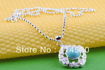 """Nice Wholesale free shipping 3pcs turquoise pendant necklace Fahsion 18"""" 1.2mm 925 Silver Chain Necklace c39"""