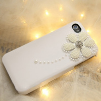 For for iphone 5 pearl daisy flowers phone case for iphone 4 4s phone case for apple 5 protective case