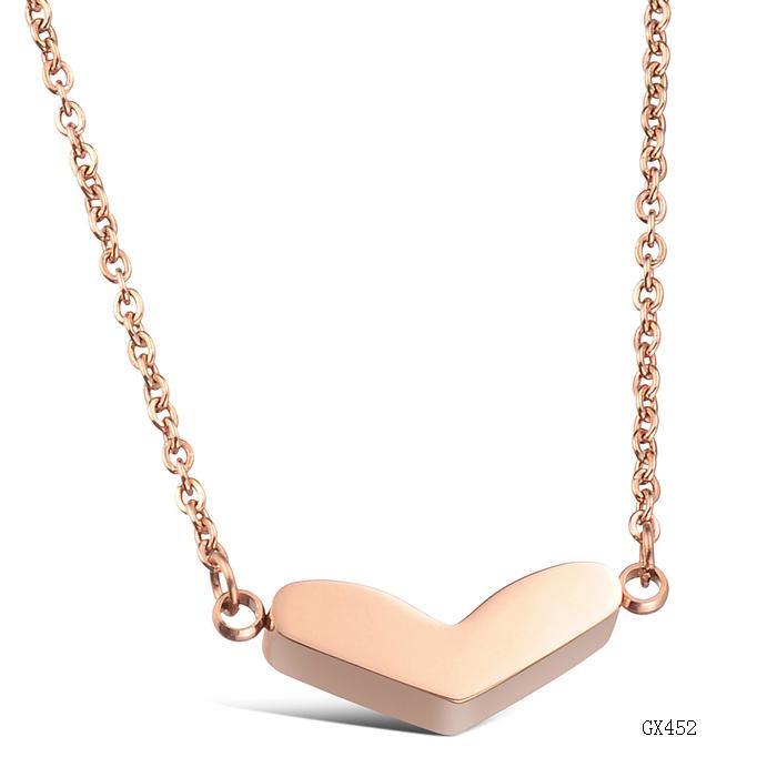 Wholesale Fashion Accessories Jewelry Rose Gold Titanium Love Pendant Necklace for Women GX452