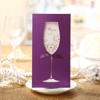 Wholesale Wedding Invitations/ Purple And Red Invitation Card With Envelope/ Free Shipment 100pcs/Lot