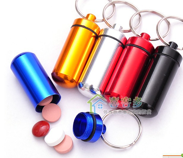 Micro Aluminum Pill box Cache Container Geocache Geocaching Key rings bottle keychain holder(China (Mainland))