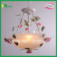 Chandelier Lighting Freeshipping Garden Ceiling Lights decorative pink ceramic rose ceramic flower crystal living room