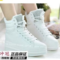 free shipping Rustic leather platform shoes rhinestone high-top shoes female shoes casual elevator shoes white black