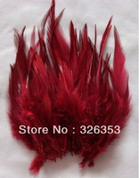 Free shipping 200pcs  Red wine Pheasant Neck Feathers 10-15cm/4-6inche Dress jewelry/Christmas/Halloween decoration