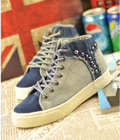 free shipping Spring high canvas shoes water wash denim female shoes women's flat rivet cotton-made shoes Casual shoes