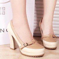 2013 spring thick heel platform high-heeled shoes brown leather single shoes beige vintage color block gentlewomen shoes
