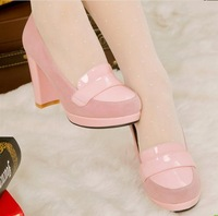 High-heeled shoes thick heel pink black single shoes beige color block decoration japanned leather shoes sweet vivi women's