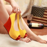 Open toe high-heeled shoes sandals white black yellow color block decoration sweet women's shoes ultra high heels wedges