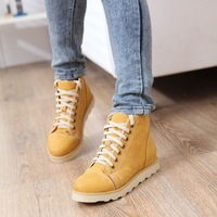 free shipping Fashion autumn and winter casual women's shoes bandage flat high invisible elevator shoes unisex plus wool thermal
