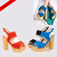 free shipping Fashion water women's thick high-heeled shoes 35 banding strap rivet open toe sandals platform clogs orange 34