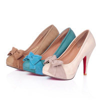 New arrival 2012 spring and autumn female shoes sweet bow flower women's single shoes leather high thin heels blue 34 Sandals