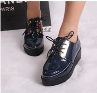 2013 spring new arrival british style lacing casual platform pointed toe women's shoes japanned leather fashion single shoes