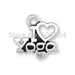 free shipping 15pcs a lot 2013 newest sporty antique silver plated I heart yoga charm jewelry accessory