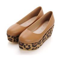 2013 spring shallow mouth flat heel round toe leopard print color block decoration platform single shoes women's shoes Sandals
