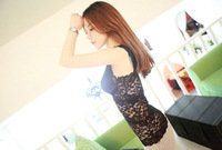 Summer female sexy full lace pad belt V-neck basic shirt vest black