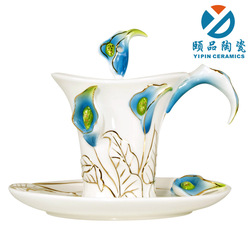 Fashion enamel porcelain calla lily coffee cup lovers ceramic glass set b412(China (Mainland))