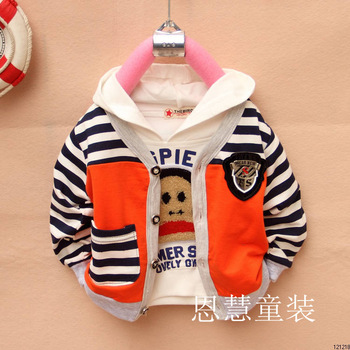 Children's clothing female child 2013 spring thin outerwear male child button casual long-sleeve cardigan stripe sleeve t-shirt