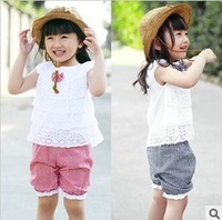 1pcs free shipping baby girl's clothing set (tops+short plaid pants) for summer Children clothes sets Kids suits baby wear