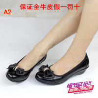 Free Shipping 12 women's leather wedges low single shoes genuine leather soft outsole soft leather single shoes work shoes
