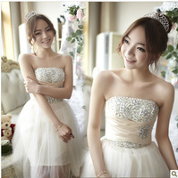 2013 new short bridesmaid dress  Crystal Decoration