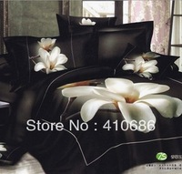 Hot selling 3D Bedding set Beautiful Magnolia  Quilt Cover Bed sheet set bed in a bag free shipping