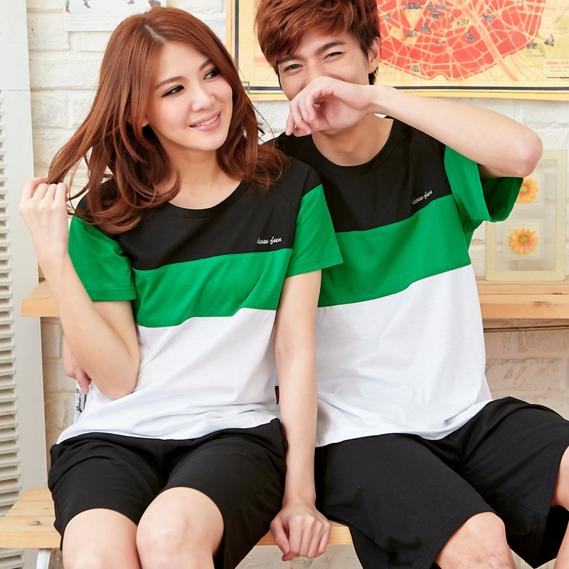Summer lovers sleepwear male cotton set knitted cotton casual sports comfortable women's short-sleeve lounge(China (Mainland))