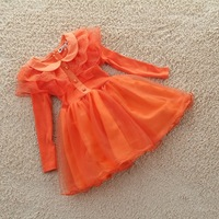 2013 spring child baby princess dress girls clothing gentlewomen long-sleeve dress half-length yarn lace