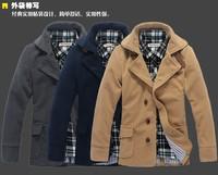 2013 retail fashion Men's spring woolen outerwear jacket coat, 3 color option