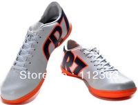 Free EMS Shipping White Synthetic Leather Indoor IC Soccer Shoes For Men's Athletic Footwear New 7 Orange 2013 New Arrivals