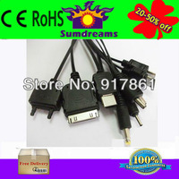 Black New 10 in 1 Universal USB Multi Charger Cable For iPod/PSP/Nokia/Cell Phone 22.5 CM