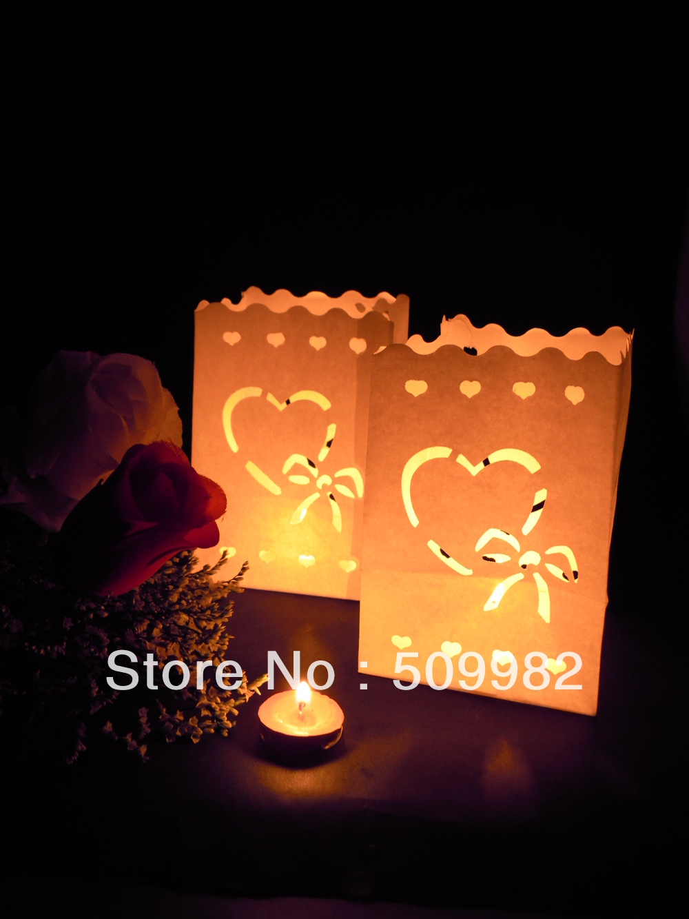 1200ps/lot+Free shipping Love heart Paper Candle Bag Lantern For Party Wedding Christmas Halloween New Year,Luminary candle bags(China (Mainland))