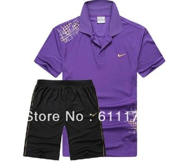 Summer sportswear suit male authentic T-shirt shorts sport suit silk ice(China (Mainland))