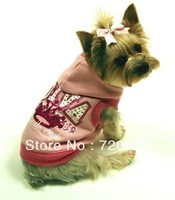Free Shipping Dog Pet Cat Clothes Spring DIVA Crown Pink Dog Hoodie Sweatshirt Sz XXS XS S M