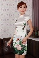 Fashion Chinese Women's Mini Evening Dress Cheongsam Size:S-2XL