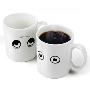 Magic color changing cup ceramic cup big eyes color cup mobile phone key ring